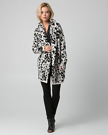 Leopard Print Jacquard Sweater Coat
