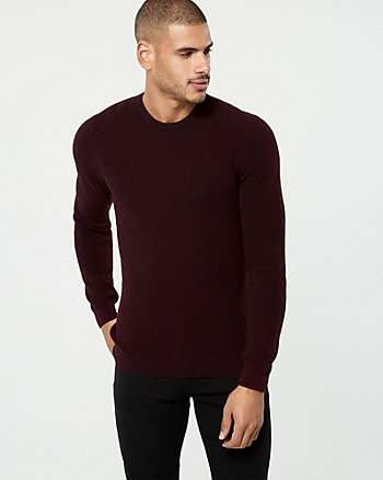 Two-Tone Cotton Crew Neck Sweater