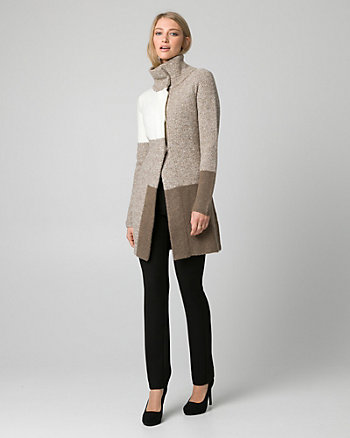 Colour Block Bouclé Sweater Coat