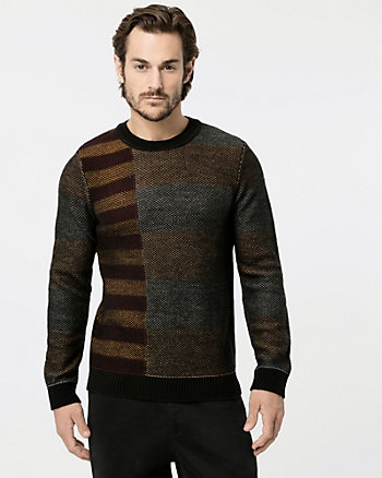 Stripe Wool Blend Crew Neck Sweater