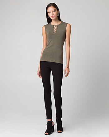 Viscose Blend Lace-Up Sweater Tank