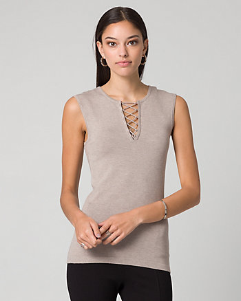 Viscose Blend Lace-Up Sweater Shell