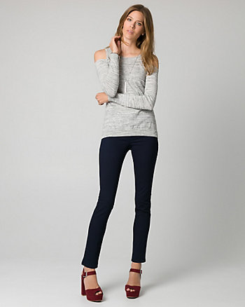 Cotton Blend Cold Shoulder Sweater