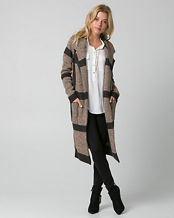 Check Print Jacquard Sweater Coat