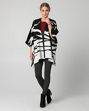 Zebra Print Viscose Blend Buckle Poncho