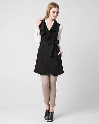 Double Weave Open Collar Long Vest