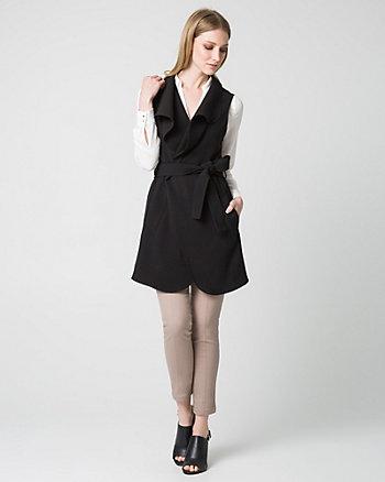 Double Weave Open Collar Long Vest