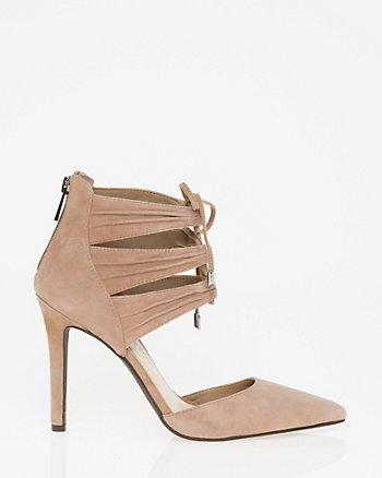 Suede Pointy Toe Ghillie Tie Pump
