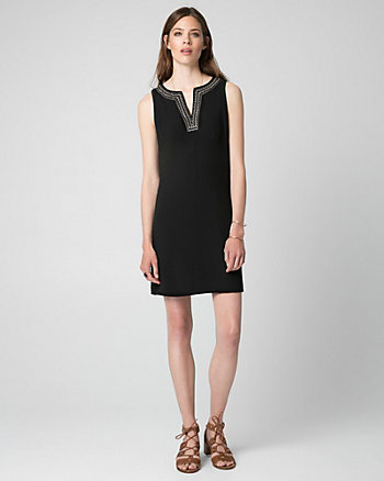 Crêpe V-Neck Tunic Dress