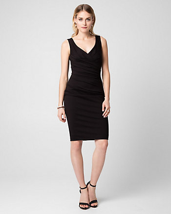 Ponte V-Neck Pleated Shift Dress