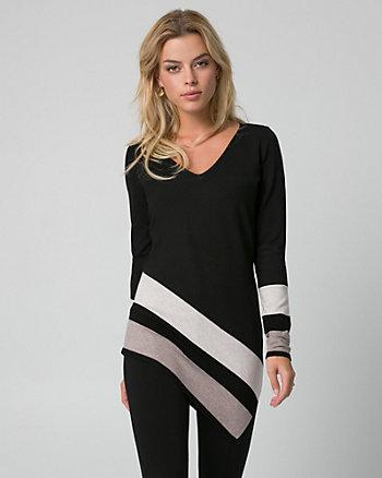Stripe Viscose Blend Asymmetrical Sweater