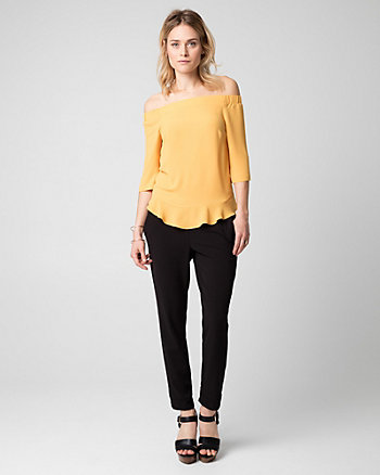 Crêpe de Chine Off-the-Shoulder Blouse