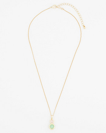 Double Gem Pendant Necklace