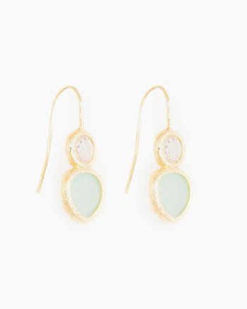 Double Gem Drop Earrings