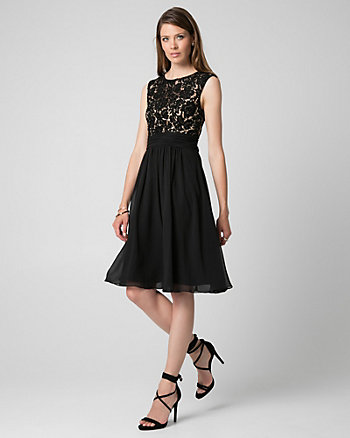Lace & Chiffon Boat Neck Cocktail Dress