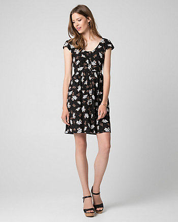Ditsy Print Challis V-Neck Dress