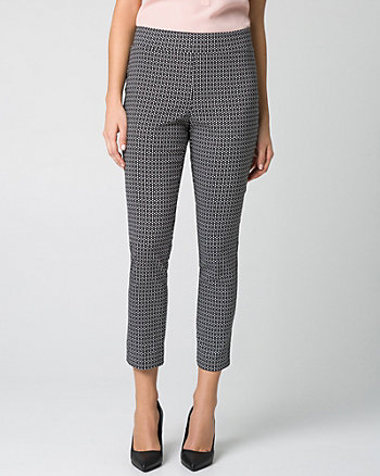 Geo Print Tech Stretch Slim Leg Crop Pant
