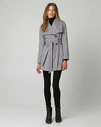 Cashmere-Like Open Collar Belted Coat