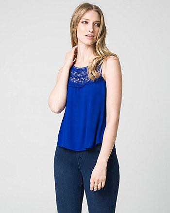 Lace & Gauze Scoop Neck Tank