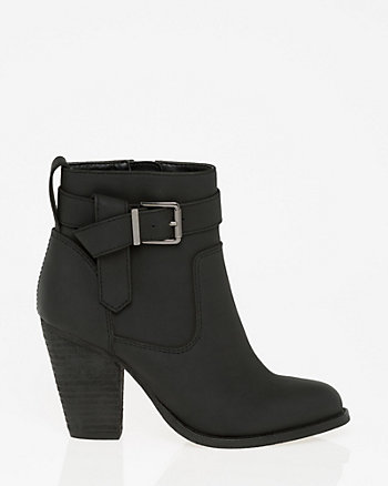 Nubuck Leather-Like Almond Toe Ankle Boot