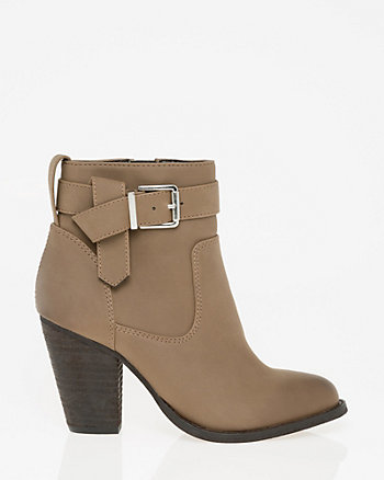 Nubuck Leather-Like Almond Toe Ankle Boot