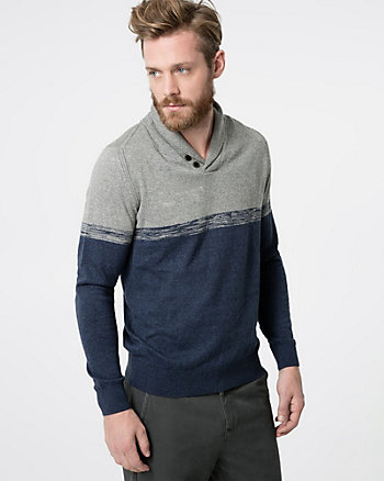 Colour Block Cotton Shawl Collar Sweater