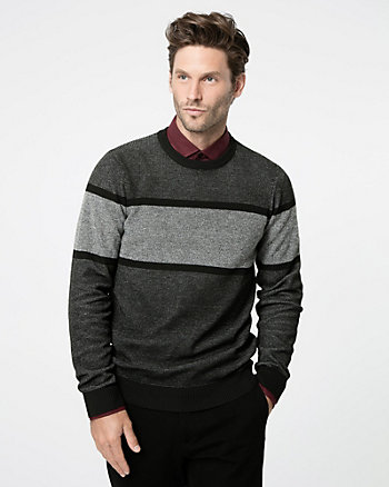 Textured Stripe Crew Neck Sweater
