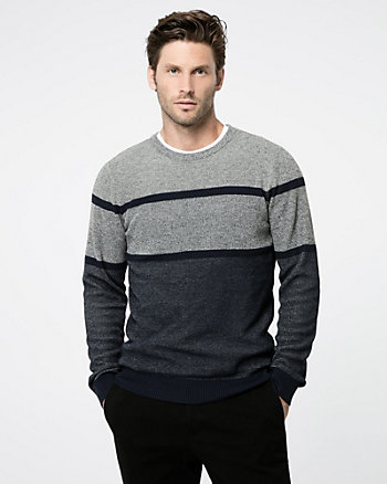 Textured Stripe Crew Neck Sweater