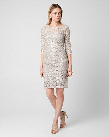 Guipure Lace Illusion Cocktail Dress