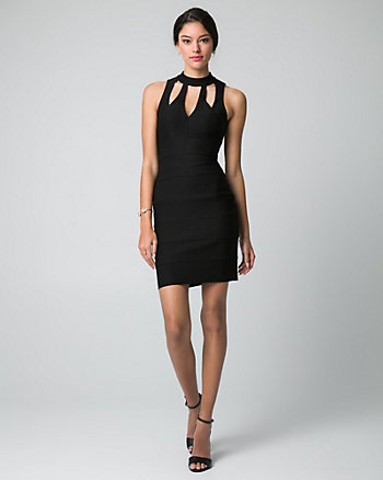 Tech Stretch Mock Neck Cocktail Dress