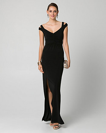 Jersey Off-the-Shoulder Ruched Gown