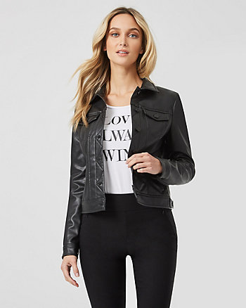 Faux Leather Button Front Jacket
