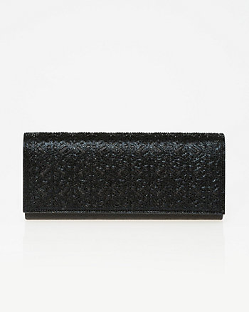 Embellished Metallic Foil Flapover Clutch