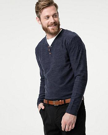 Cut & Sew Knit Henley Sweater