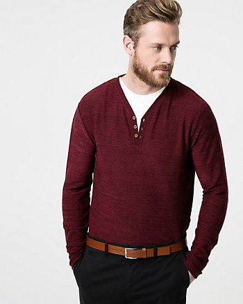 Cut & Sew Knit Henley Sweater