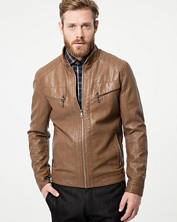 Tonal Leather-Like Motorcycle Jacket