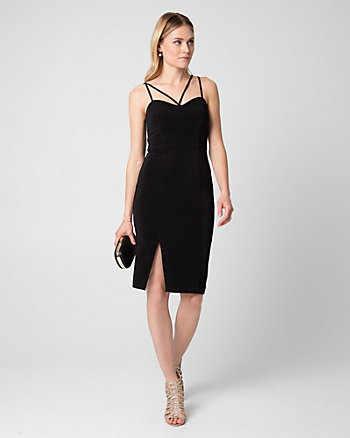 Ottoman Knit V-Neck Cocktail Dress