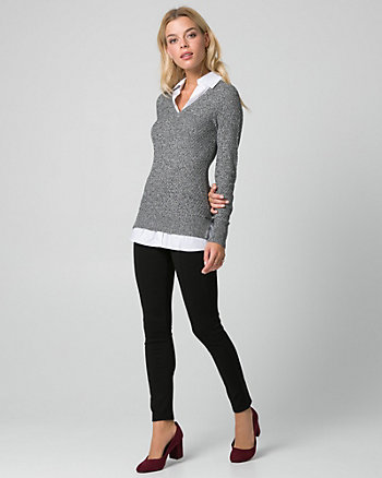 Textured Viscose Blend Sweater