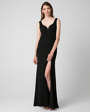 Crêpe V-Neck Gown