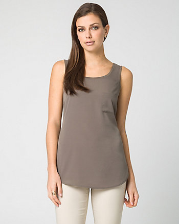 Crêpe de Chine Scoop Neck Tank