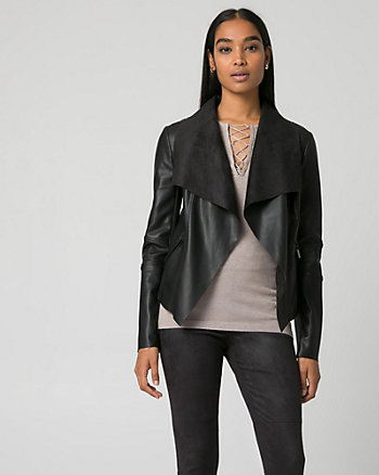 Faux Leather Open-Front Throwover