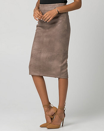 Suede-Like Midi Pencil Skirt
