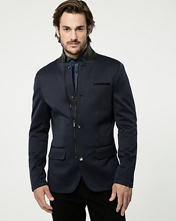 Quilted Knit Slim Fit Blazer