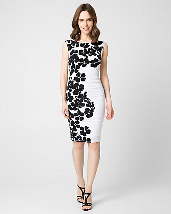Floral Print Knit Boat Neck Dress