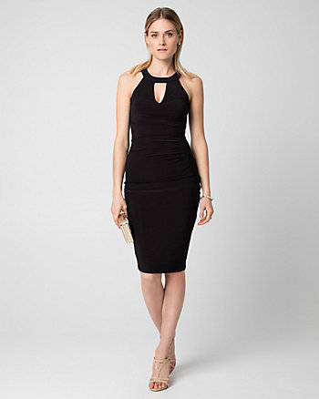 Knit Halter Pleated Cocktail Dress