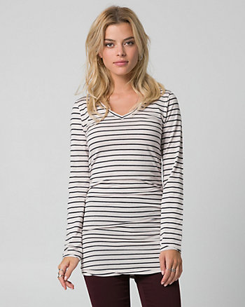 Stripe Cotton & Modal V-Neck Tunic