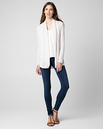 French Terry Open-Front Cardigan