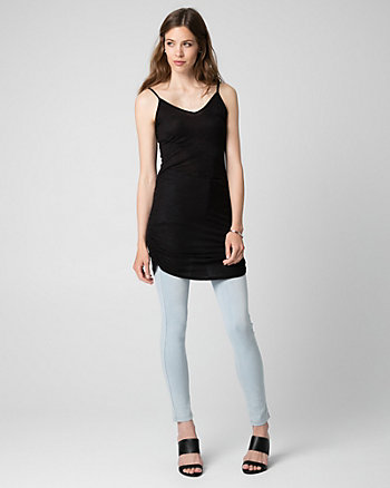 Jersey V-Neck Ruched Tunic