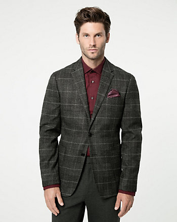 Grid Check Print  Contemporary Fit Blazer