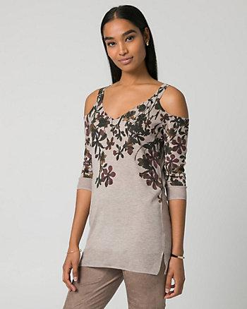 Floral Print Viscose Blend V-Neck Sweater